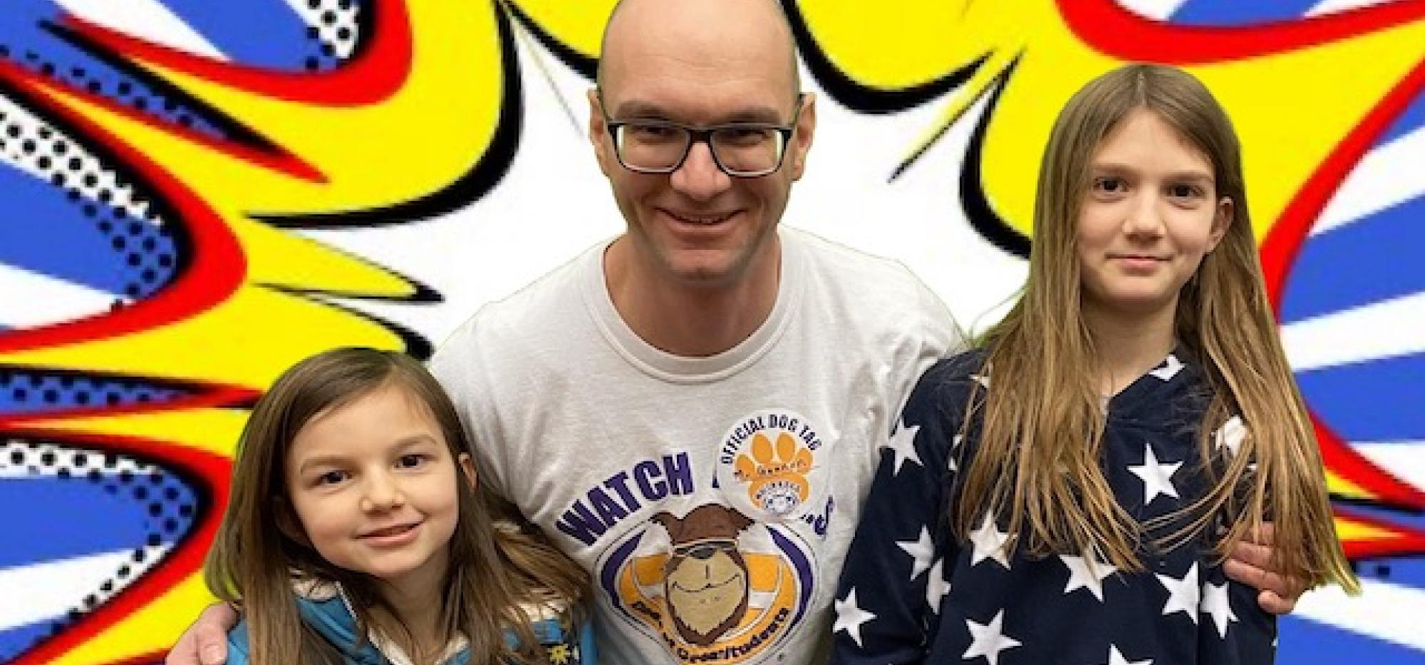 Dad with two daughters
